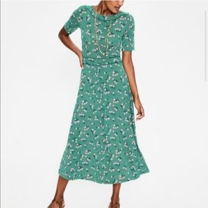 Boden Ava Jersey Garden Floral Midi Dress Sz 10